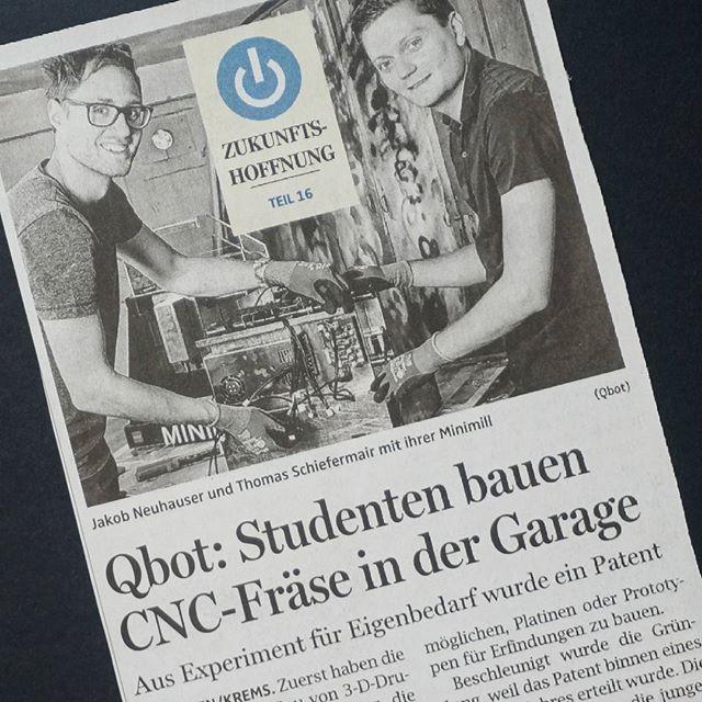 Thanks for the great article about our startup in the OÖ Nachrichtenhttp://mobil.nachrichten.at/nachrichten/wirtschaft/wirtschaftsraumooe/Qbot-Studenten-bauen-CNC-Fraese-in-der-Garage;art467,2819315  #oönachrichten #thanks #zukunftshoffnung #startup #qbot #minimill #minimilled #cncmilling #pcbmill #platinenfräse