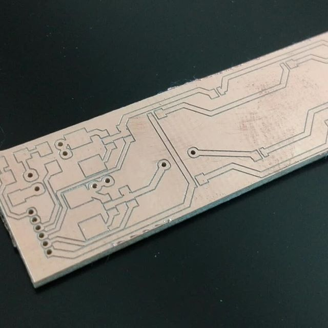 A led board for a student's project milled at the FabLab Graz on a qBot MINImill #minimill #fablabgraz #tugraz #qbot #pcbmilling #grbl #platinenfräse