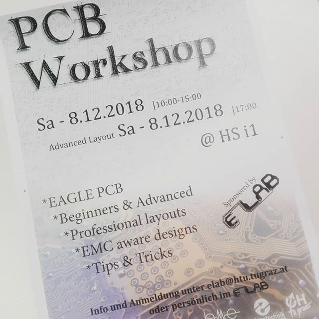 Our friends of the ELAB at TU Graz are hosting a PCB workshop.  They will teach basic PCB layout guidelines and how to use EAGLE. Join them, learn some pretty neat skills and test out one of our MINImills #pcb #pcbmilling #workshop #cnc #pcbdesign